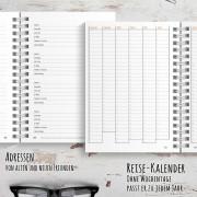 Reisetagebuch für Australien mit Seiten für Adressen und einem Jahreskalender