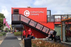 Conatiner Stadtteil in Christchurch Neuseeland