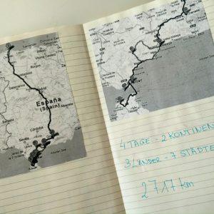 Reisejournal mit Landkarte Route