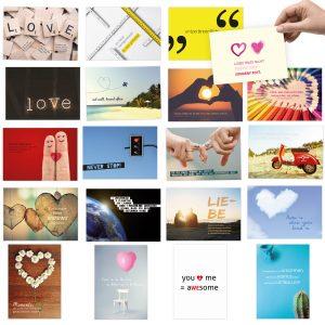 20 Postkarten im Set zum Thema: LIEBE