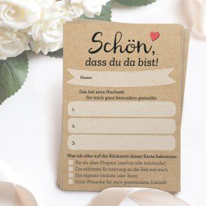52x Schön, dass du da bist – Postkarten mit INDIVIDUELLEN Fragen als Hochzeitsspiel