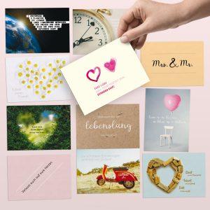 52 Postkarten als liebevoll gestaltetes Hochzeitsgeschenk / -Spiel